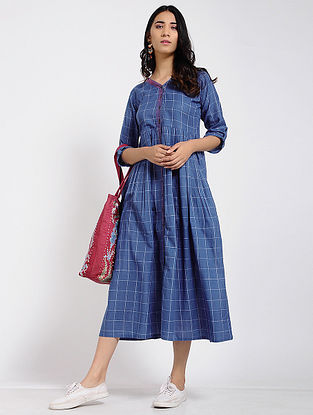 Blue Kantha Cotton Dress
