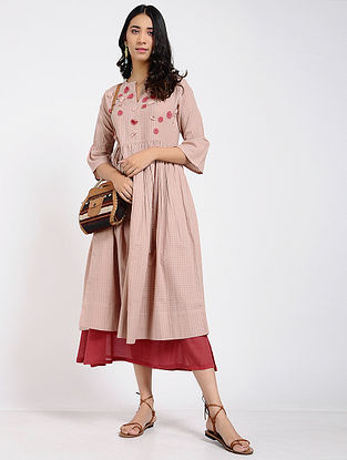 Pink Cotton Dress with Slip (Set of 2)