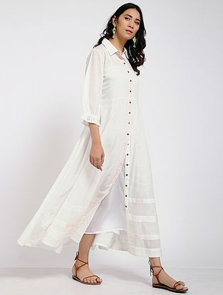 Ivory Kantha Cotton Maxi Dress with Slip (Set of 2)