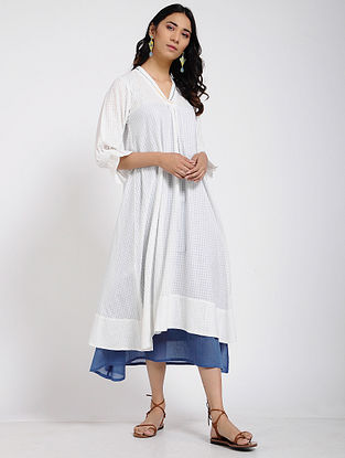 Ivory Gathered Sleeves Cotton Dress with Slip (Set of 2)