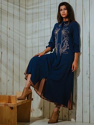 Eden Indigo Cotton Khadi Dress with Lining