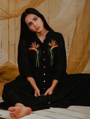 Paradise Birds Black Mul Shirt Dress with Lining