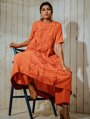 Tangerine Hand Embroidered Cotton Khadi Tunic with Lining