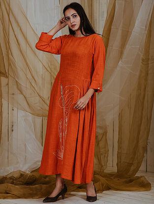 Anthurium Orange Cotton Khadi Dress