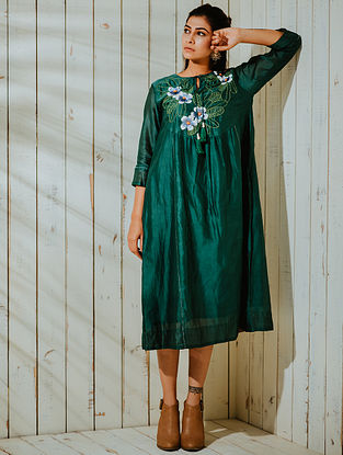 Moonlit Champa Green Chanderi Tunic with Lining