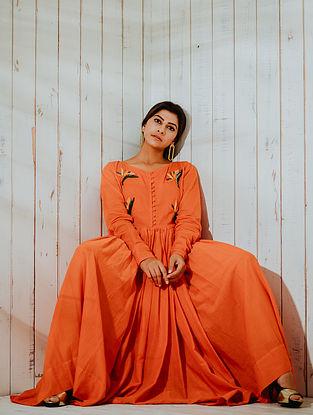 Lost Paradise Orange Mul Maxi Dress with Lining