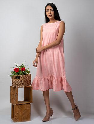 Pink Embroidered Handloom Cotton Dress
