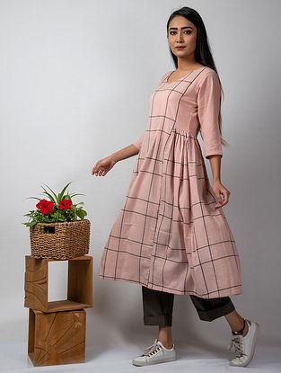 Pink Grey Handloom Cotton Dress
