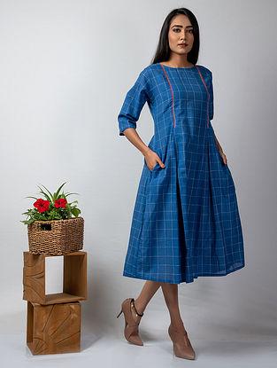Blue Embroidered Handloom Cotton Dress
