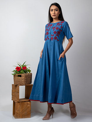 Blue Handloom Cotton Dress with Red Applique