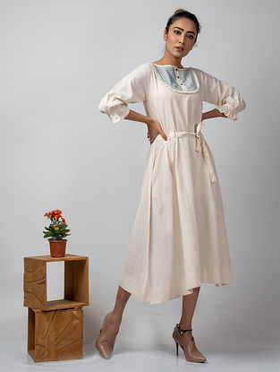Ivory Embroidered Handloom Cotton Dress