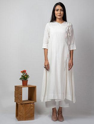 White Embroidered Handloom Cotton Kurta with Slip (Set of 2)