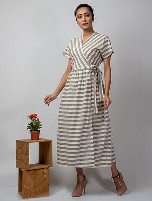 Ivory Grey Handloom Cotton Dress