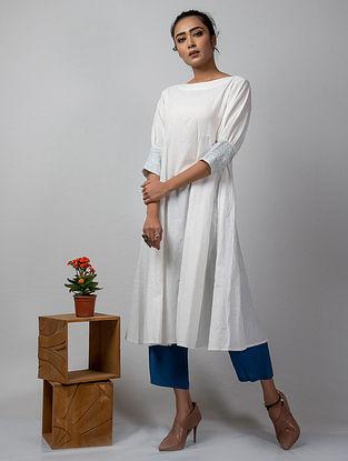 White Embroidered Khadi Cotton Dress