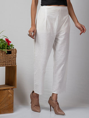 White Handloom Cotton Pants