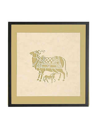 Cow with Calf Sanjhi Wall Art 9.5in x 9.5in