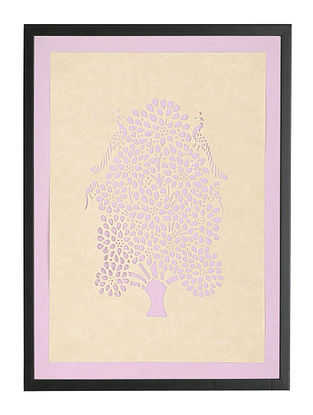 Kadam Tree with Peacock and Parrot Sanjhi Wall Art 13in x 10in