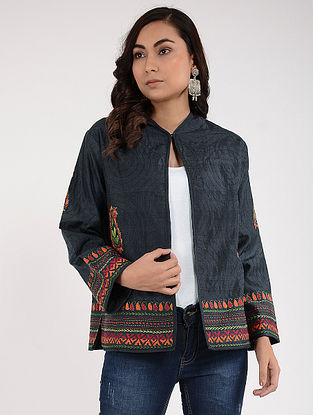 Charcoal Kantha-Embroidered Silk Jacket
