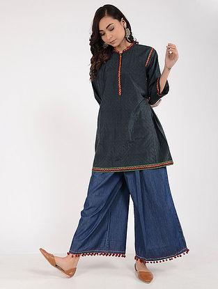Charcoal Kantha-Embroidered Silk Kurta