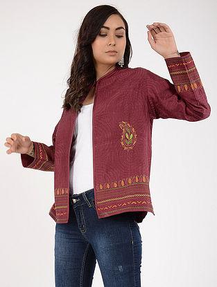 Maroon Kantha-Embroidered Silk Jacket