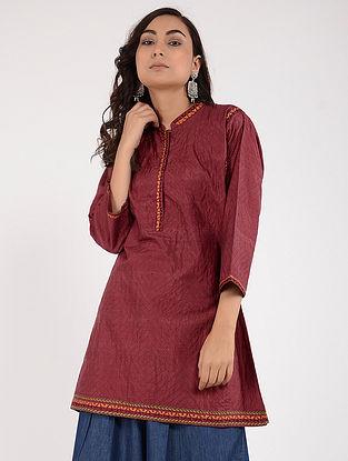Maroon Kantha-Embroidered Silk Kurta