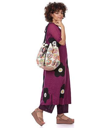 Multicolored Silk Bucket Bag
