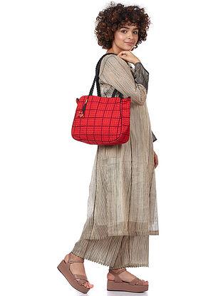 Red Printed Silk-Velvet Tote Bag