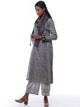 Slate Grey Silk Carolpleated Dupatta