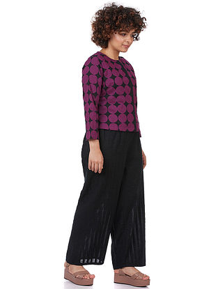 Black-Purple Printed Cotton Blouse