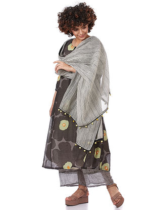 White-Black Printed Silk-Cotton Dupatta