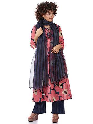 Indigo-Black Printed Silk Dupatta