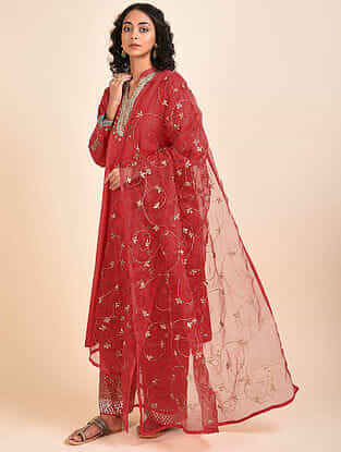 Raza Red Silk Dupatta
