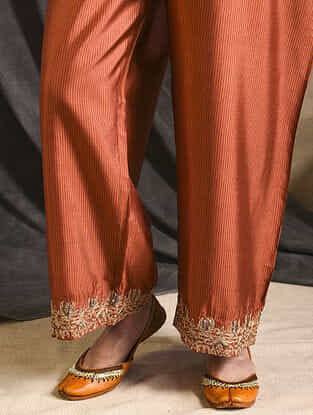 Rust Embroidered Silk Pants