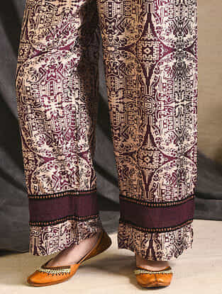 Burgundy Printed Silk Pants