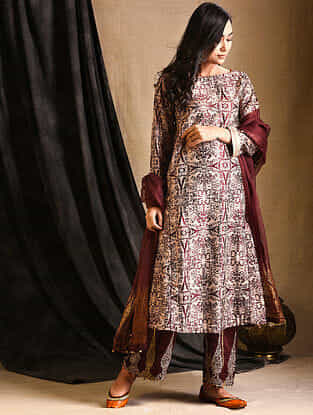 Burgundy Printed Silk Kurta