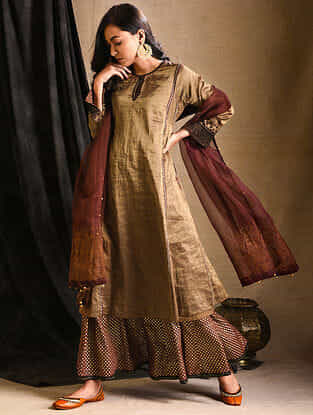 Brown Tissue Kurta