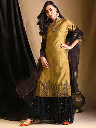 Mustard Embroidered Silk Kurta