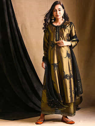 Olive Embroidered Silk Kurta