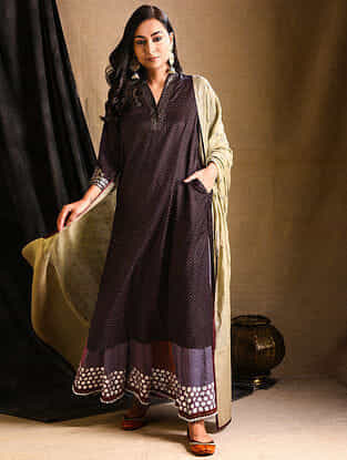Wine Embroidered Silk-Cotton Kurta