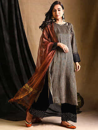 Ivory-Purple Silk-Cotton Kurta with Sequins Work