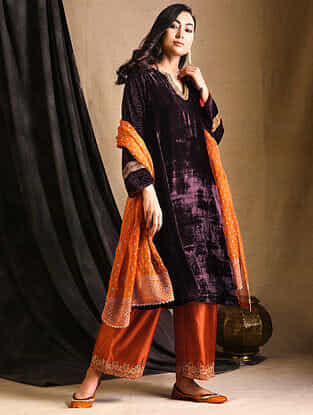 Maroon Embroidered Silk-Velvet Kurta