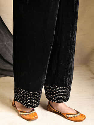 Black Embroidered Silk-Velvet Pants