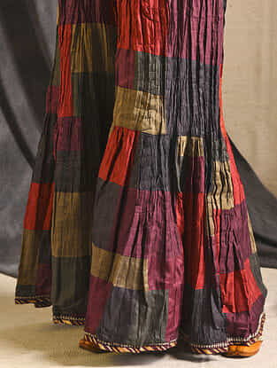 Multicolored Silk Sharara-M-L