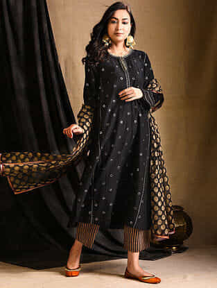 Black Embroidered Silk-Cotton Kurta