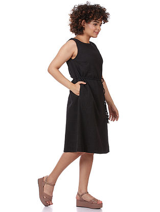 Black Textured Cotton Dress