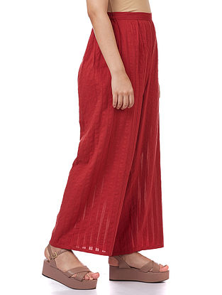 Red Pleated Cotton Palazzos