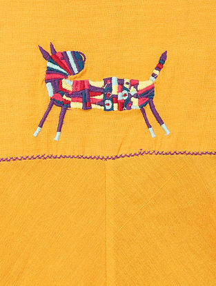 Yellow Hand-embroidered Cotton Top