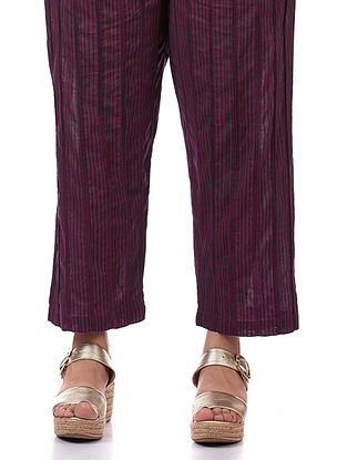 Purple Printed Cotton Pants