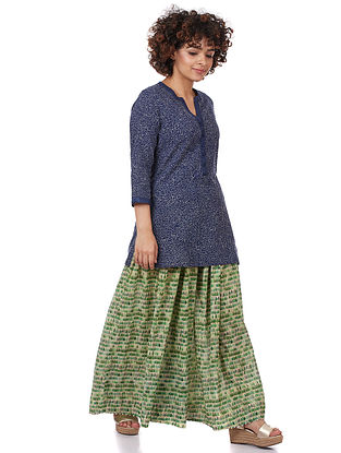 Indigo Cotton-Silk Kurta