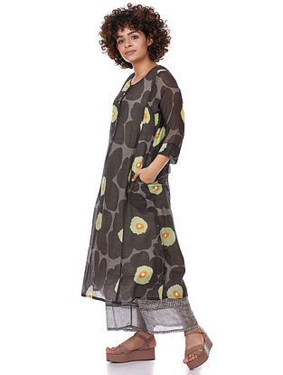 Poppy Black Printed Silk-Cotton Kurta